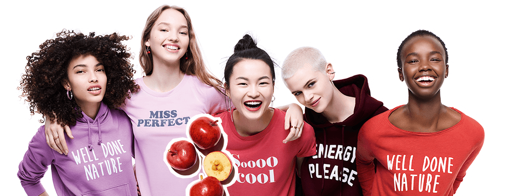 Models surrounded by ingredients